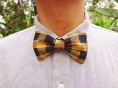 Pre-Tied Bowtie Yellow & Black Gingham by BowMeAwayByAlexandra on Etsy