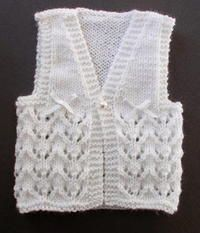 Lace Knit Baby Vest - Looking for ideas for baby shower gifts? This Lace Knit Baby Vest is an adorab Baby Sweater Patterns, Knit Vest Pattern, Baby Knitting Patterns, Lace Knitting, Baby Patterns, Crochet Baby, Knit Crochet, Knit Lace, Baby Pullover Muster