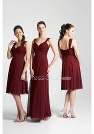 Wine Red Chiffon Bridesmaide dress