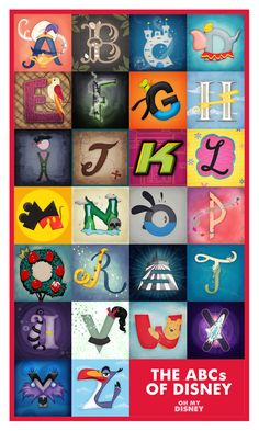 The ABCs of Disney feature your favorite disney things (Disney character, movie, Parks ride, Disney Channel) from A to Z.