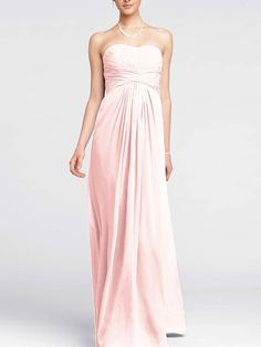 A look and feel that you will love, this long and flowy chiffon dress will set you apart from the rest! Style F15555 #davidsbridal #weddings  #aislestyle