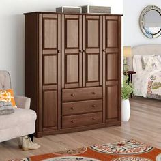 Armoires & Wardrobes You'll Love in 2019 Door Storage, Storage Spaces, Tall Cabinet Storage, Howard Storage, Tv Armoire, Raised Panel Doors, Concealed Hinges, Large Shelves, Wardrobe Cabinets