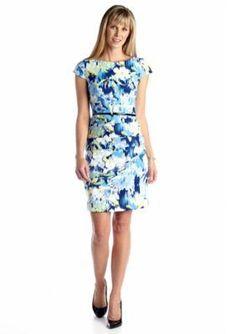 Floral Belted Sheath Dress