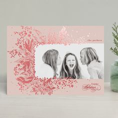 Christmas Sketch, Christmas Photo Cards, Holiday Cards, All Holidays, Christmas Holidays, Botanical Drawings, Photo Layouts, Foil Stamping, Custom Photo