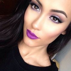 Another trend, violet lip, with beautiful light smokey eyes.