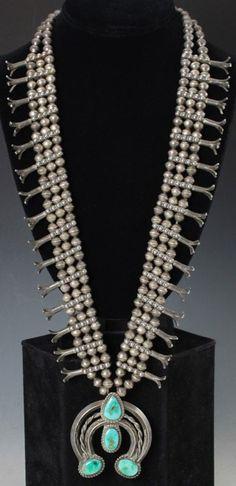 Navajo Squash Blossom Necklace. Rare Native American jewelry for sale on CuratorsEye.com