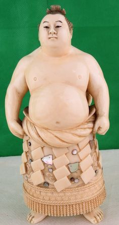 """Sumo Wrestler - Carved Ivory Japan 1880 H: 4.6"""""""