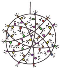 pdf instruction to make large, lighted Christmas Balls to hang from trees or lie on the lawn. Christmas Balls, Christmas Tree Ornaments, Christmas Lights, Christmas Holidays, Christmas Crafts, Christmas Decorations, Christmas Ideas, Xmas, Christmas Recipes
