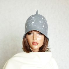Grey felt hat Felted hat Felt cap Hat for sauna  от ZiemskaArt