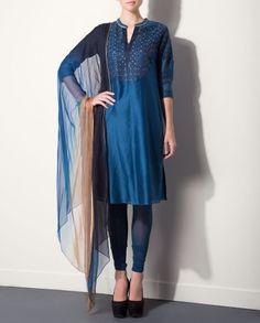 Lapis Kurta Set with Mughal Design Yoke by AM:PM #Anarkali #India #DesignerWear #Indian #Ethnic #Fashion #AnkurModi #PriyankaModi #Style
