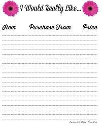 Image result for free printable birthday list