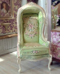 Pistachio French Porter Chair  1:12 scale by MaritzaMiniatures