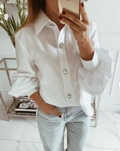 ivrose / Solid Button-Up Dress Shirt Shirts & Tops, Casual Shirts, Plus Size Online Shopping, Shirt Bluse, Button Up Dress, Pret A Porter Feminin, Pattern Fashion, Sleeve Styles, Blouses For Women