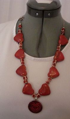 Red Beaded Hearts/Square Placers Necklace Accented by Red Heart Pendant