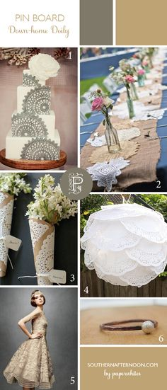 Rustic Wedding Inspiration Board, Down-home Doily, by Paperwhites, a stationery boutique, from our blog www.southernafternoon.com