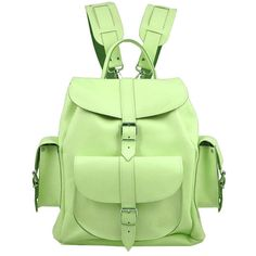 Grafea Mint Kiss Medium Leather Rucksack - Mint ($260) ❤ liked on Polyvore featuring bags, backpacks, accessories, bolsas, bolsos, green leather backpack, leather zip backpack, draw string backpack, genuine leather backpack and shoulder strap backpack