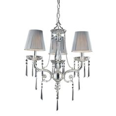 Princess 3 Light Chandelier In Polished Silver With Silk String Shades 2395/3