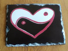 """Ying Yang Love Print on Slate 8x6 Rock $50.00 USD Unique and original stone cut piece with a print of my art piece """"Ying Yang Love"""" on a stone slate (8x6) and display easel. The uniquely cut stone maintains a natural shape and texture for a one-of-a-kind keepsake."""