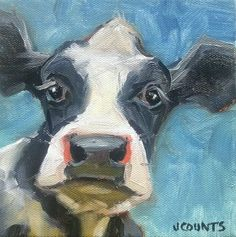 KYLE BUCKLAND JENN COUNTS FARM ART DAIRY COW CATTLE   ANIMAL OIL PAINTING A DAY Impressionism FINE ART WALL ART HOME OFFICE RESTAURANT BARN CABIN DECOR COLLECTIBLE SMALL PAINTING CUTE ANIMAL