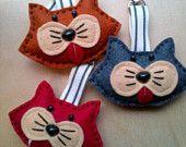 Meow Cat  Fun handmade felt animal bag charms or Key ring