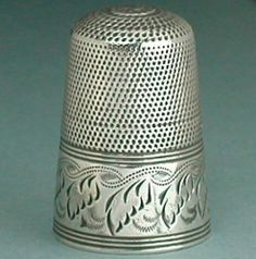 Tall Regency Antique English Sterling Silver Thimble * Circa 1820