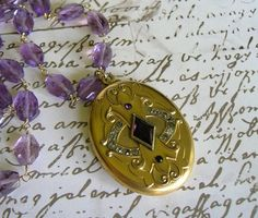 Your place to buy and sell all things handmade Antique Locket, Vintage Lockets, Locket Necklace, Washer Necklace, Pendant Necklace, Les Benjamins, Amethyst Gemstone, Initials, Victorian