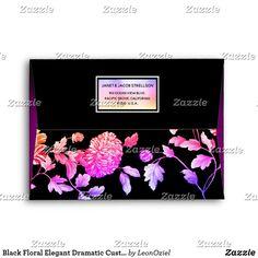 Shop Black Floral Elegant Dramatic Custom Address Envelope created by LeonOziel. Thank You Notes, Thank You Cards, Custom Printed Envelopes, Envelope Sizes, Addressing Envelopes, Colorful Backgrounds, Stationery, Greeting Cards, Invitations
