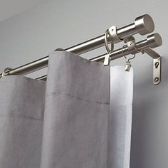 Buy Umbra Adjustable Double Curtain Pole Kit, Nickel, from our Ready Made Curtain Poles range at John Lewis & Partners. Home Curtains, Rustic Curtains, Hanging Curtains, Curtains With Blinds, Blackout Curtains, Window Curtains, Curtains For Bifold Doors, Double Curtain Rod Set, Double Rod Curtains