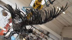Steel sculpture of a bladed ripper bird made from spoons,knives,forks also scythes for Expo in Milano 2015 for Slovak Pavilon Sculpture Art, Sculptures, Bratislava, Studios, Self, Sculpture