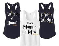 If you're not going totally Harry Potter with your wedding theme (or even if you are), why not use it as the basis for your hen party? Travel in style in this 'Muggle to Mrs' top from 86 Level St Design, and have your bridesmaids rock the 'Bride's Witches' tees.