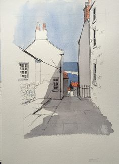 Another demo piece… Simplified: this is the view to the sea from the top of Mount Pleasant in Staithes Ein weiteres Demostück … Vereinfacht gesagt: Dies ist der Blick auf das Meer vom Gipfel des Mount Pleasant in Staithes Sketch Painting, Watercolor Sketch, Watercolor Paintings, Watercolor Ideas, Urban Sketchers, Inspiration Art, Art Inspo, Art Sketches, Art Drawings