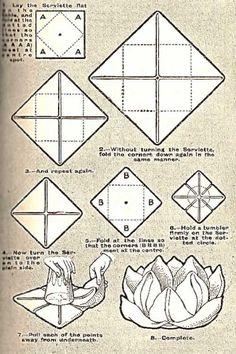 Illustration For The Rose Napkin Folding Technique