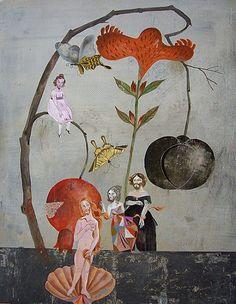 'Paradise II' (2008) by German artist & illustrator Olaf Hajek (b.1965). Acrylic on cardboard, 40 x 50 cm. via Johanssen Gallery