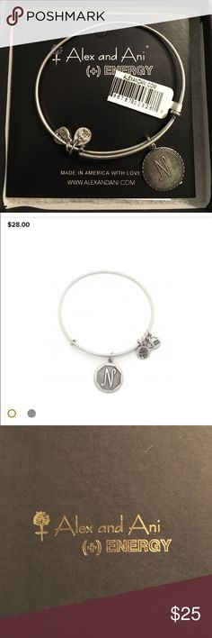 """Alex and Ani 'N' bracelet NWT Personalize your jewelry with initials. Choose your own or give a personal gift to someone you love. Each charm is beautifully stamped with script letters creating an elegant and classic look.  The perfect addition to your charmed arm • Expandable from: 2.5"""" to 3"""" • Charm Dimension: 0.75"""" x 0.75"""" • Crafted in our RAFAELIAN GOLD and RAFAELIAN SILVER Finishes Always remove jewelry before swimming, bathing, doing household chores, or using abrasive cleaners. Alex…"""