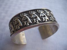 Heavy Vintage NAVAJO Sterling Silver Kokopelli CUFF BRACELET, Signed ANDY THOMAS