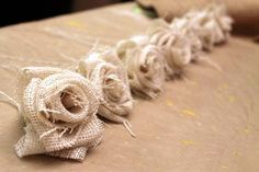 Great tutorial on how to make burlap flowers! lots of pictures and multiple types of flowers! @ Lovely Wedding Day