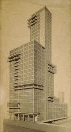 Walter Gropius and Adolf Meyer, 1922,  Chicago Tribune Tower, Bauhaus Archive,  Museum of Design, Berlin.