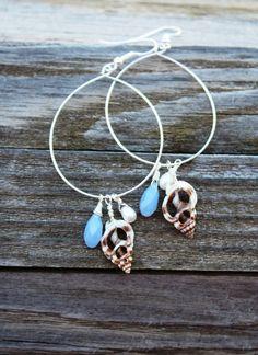 Seashell Earrings, Beach Earrings, Silver, Shell Earrings, Seashell Jewelry, Beach Jewelry, Shell Jewelry, Hawaii Jewelry, Swarovski Pearl. $20.00, via Etsy.