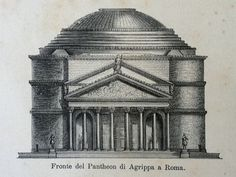 Roman Architecture Pantheon and more - Original Rare Antique Italian Illustration Rome Italy Building Monument Engraving Arches Columns