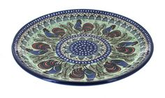 Rooster Row Dinner Plate - Blue Rose Polish Pottery