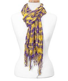 Love this Purple & Gold Plaid Fringe Scarf on #zulily! #zulilyfinds