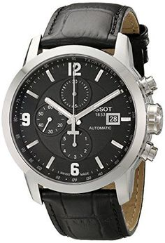 Tissot Men's T055.427.16.057.00 'PRC 200' Black Dial Black Leather Strap Chronograph Swiss Automatic Watch *** Read more reviews of the product by visiting the link on the image.