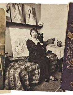 Marie Laurencin posing in her studio with a cute kitten, Mids 1910s.