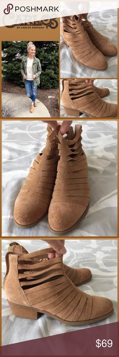 """JUST IN 🆕 'WRAP IN SUEDE' ANKLE BOOTIES This ankle boot will go from season to season in style ▪️Almond toe ▪️Cut-out suede construction ▪️Back zip closure ▪️Stacked heel ▪️Approx. 5.5"""" shaft height, 10"""" opening circumference ▪️Approx. 1.5"""" heel ▪️True to size  🛍BUNDLE=SAVE  🚫TRADE🚫HOLD🚫MODEL  💯Brand Authentic  ✈️Ship Same Day--Buy By 2PM PST  🖲USE BLUE OFFER BUTTON TO NEGOTIATE   ✔️Ask Questions Not Answered In Description--Want You To Be Happy! Carlos Santana Shoes Ankle Boots…"""