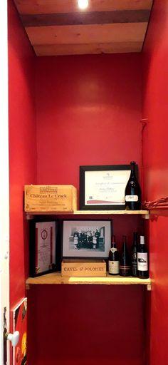 Mise en scène d'une descente de cave à vins. Wine cellar entrance... Wine Cellar, Liquor Cabinet, Entrance, Storage, Lancelot, Furniture, Home Decor, Staging, Basement