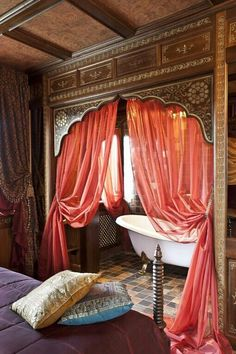 .Keeping in spirit of open bathrooms in Hotels - curtain so much softer and textiles feel richer