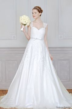 georges hobeika bridal 2013 wedding dress lace cap sleeves straps