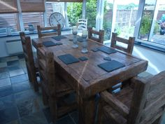 Rustic Dining Table Set, Dining Table Chairs, Dining Room, Oak Coffee Table, Rustic Coffee Tables, Homemade Tables, French Oak, Rustic Farmhouse, Centerpiece
