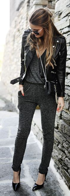 Overall und Lederjacke - we like!