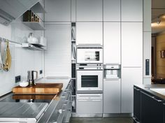 """The stainless steel Bulthaup kitchen """"cost as much as a small house,"""" said Spiekermann, though he did get a discount: Bulthaup is one of his clients. Photo by: Pia Ulin Metal Kitchen Cabinets, Kitchen Cost, Dad's Kitchen, Functional Kitchen, Kitchen Interior, Kitchen Design, Bulthaup Kitchen, Kitchen Photos, Kitchen Ideas"""